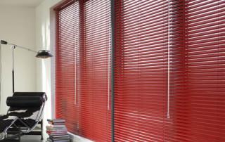 Red Aluminium venetian blinds